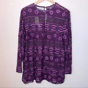 Anage Purple Vintage Beaded Embroidered Top XL